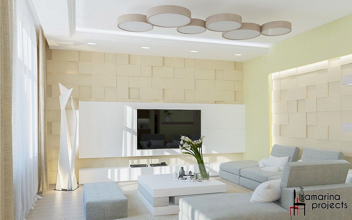 """Дизайн квартиры """"Гармония цвета"""": Гостиная в . Автор – Samarina projects"""