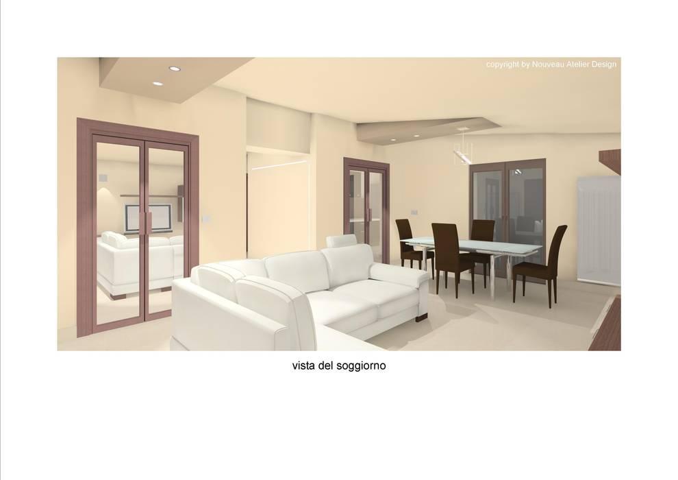 Rendering del soggiorno.: Soggiorno in stile in stile Moderno di Nouveau Atelier Design