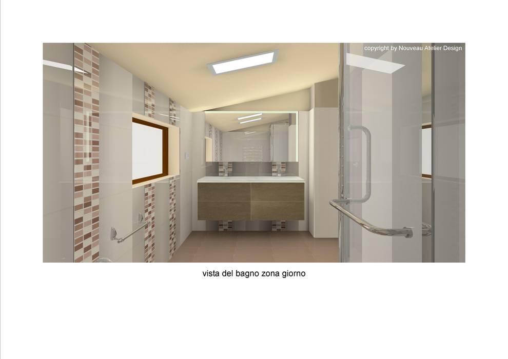 Rendering del bagno : Bagno in stile in stile Moderno di Nouveau Atelier Design