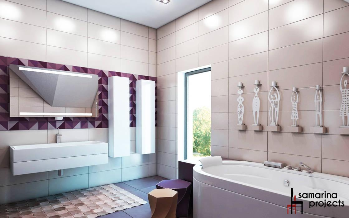 """Дизайн коттеджа """"В ритме загородной жизни"""" : Ванные комнаты в . Автор – Samarina projects"""