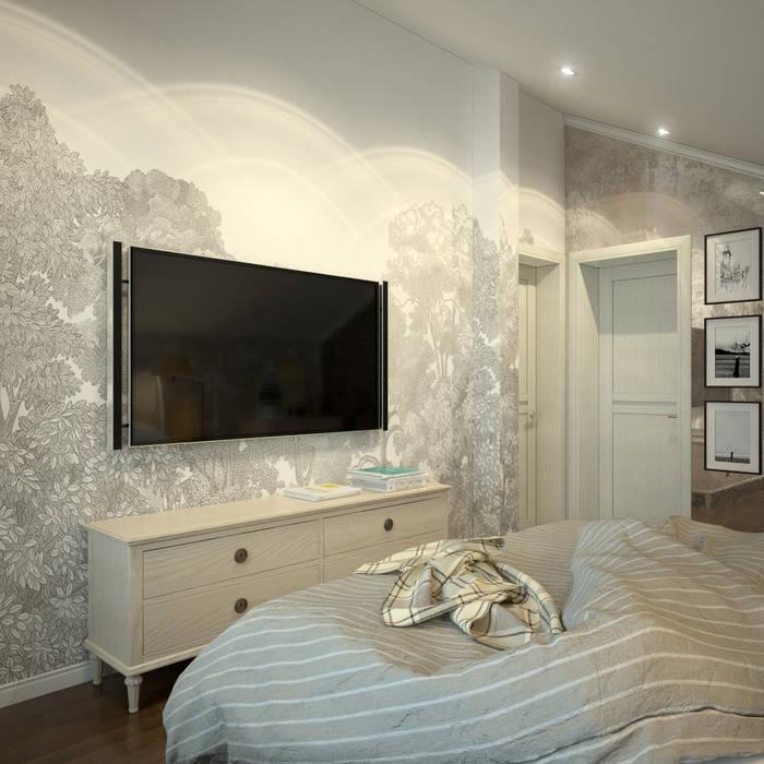 Вид на стену с телевизором и обоями Rebel Walls Спальня в колониальном стиле от Rebel Walls Russia Колониальный