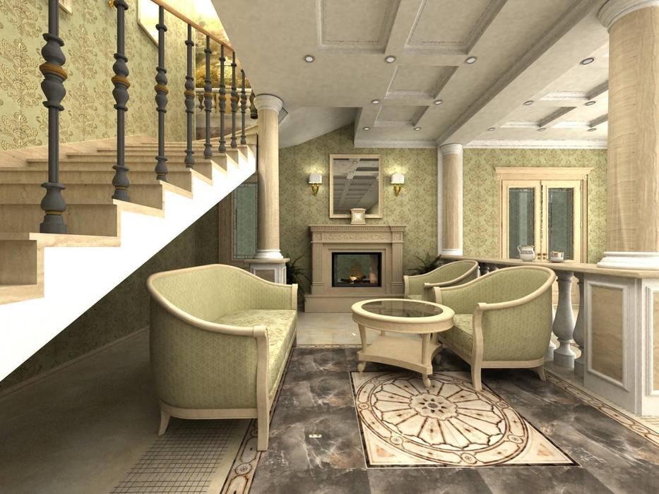 Дом: Гостиная в . Автор – Дизайн-студия Сергеевой Надежды, Классический