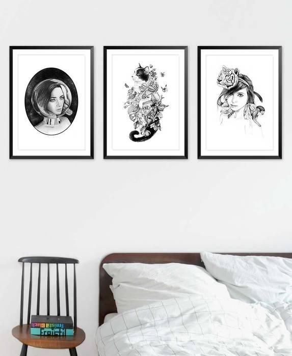 Botanical cat poster: schlafzimmer von juniqe   homify