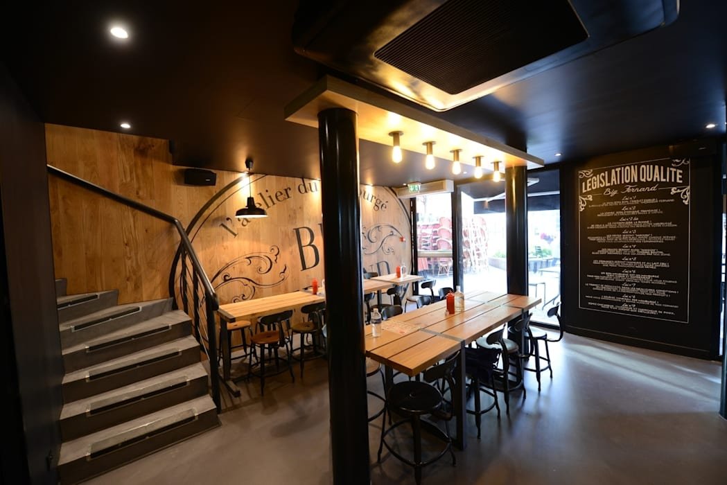 Restaurant Big Fernand : Espaces commerciaux de style  par Agathe Convert, Création d 'Interieurs