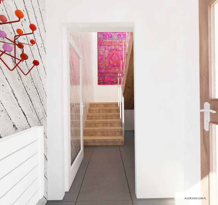 Projekt mieszkania 118m2 w Villa lux w Dąbrowie Górniczej Nowoczesny korytarz, przedpokój i schody od Ale design Grzegorz Grzywacz Nowoczesny