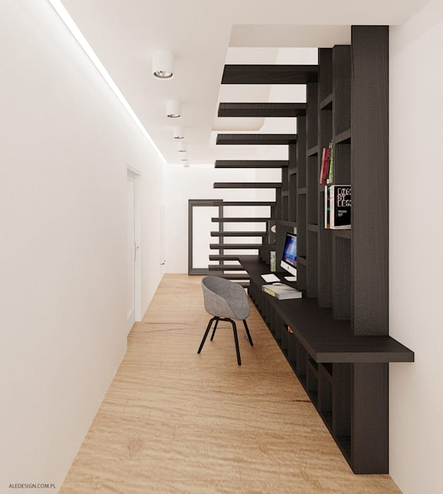 Projekt mieszkania 118m2 w Villa lux w Dąbrowie Górniczej Minimalistyczne domowe biuro i gabinet od Ale design Grzegorz Grzywacz Minimalistyczny