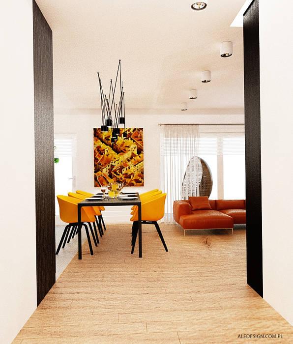 Projekt mieszkania 118m2 w Villa lux w Dąbrowie Górniczej Minimalistyczna jadalnia od Ale design Grzegorz Grzywacz Minimalistyczny
