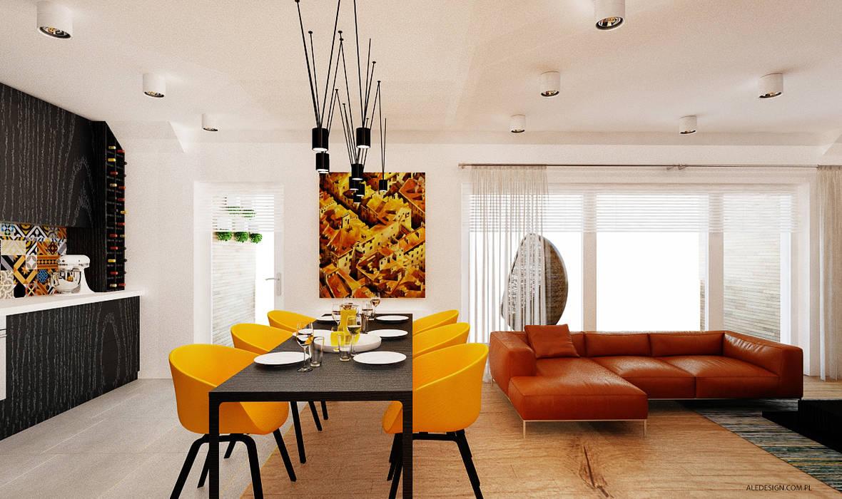 Projekt mieszkania 118m2 w Villa lux w Dąbrowie Górniczej Nowoczesna jadalnia od Ale design Grzegorz Grzywacz Nowoczesny