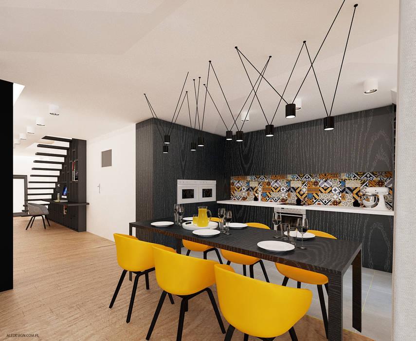 Projekt mieszkania 118m2 w Villa lux w Dąbrowie Górniczej Nowoczesna kuchnia od Ale design Grzegorz Grzywacz Nowoczesny