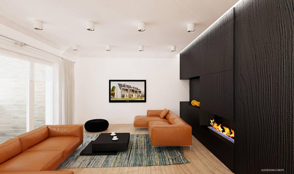 Projekt mieszkania 118m2 w Villa lux w Dąbrowie Górniczej Minimalistyczny salon od Ale design Grzegorz Grzywacz Minimalistyczny