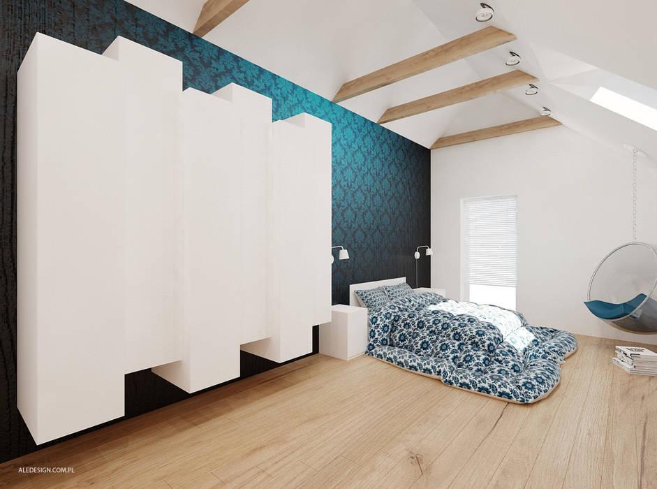 Projekt mieszkania 118m2 w Villa lux w Dąbrowie Górniczej Nowoczesna sypialnia od Ale design Grzegorz Grzywacz Nowoczesny