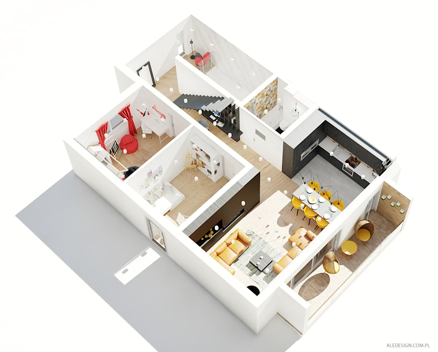 Projekt mieszkania 118m2 w Villa lux w Dąbrowie Górniczej: styl nowoczesne, w kategorii Domy zaprojektowany przez Ale design Grzegorz Grzywacz