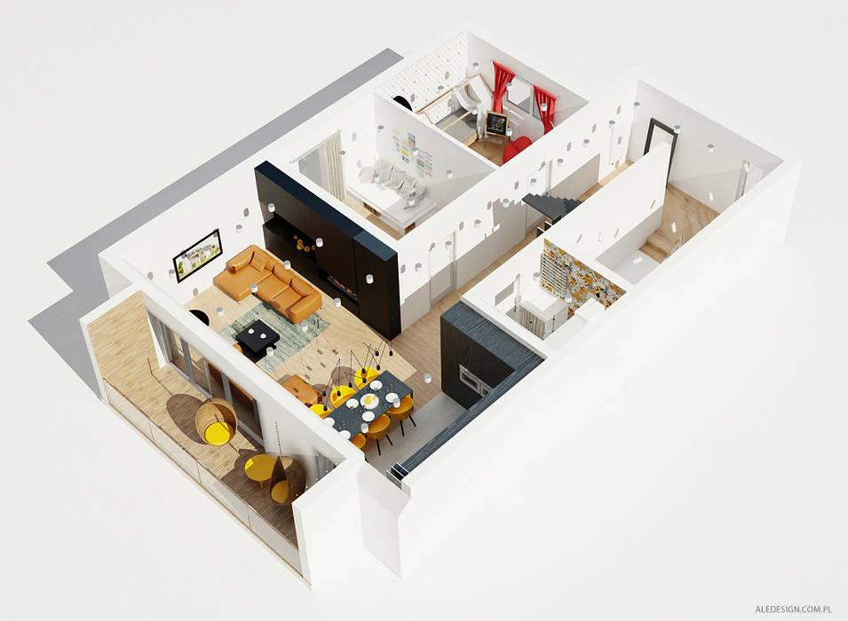Projekt mieszkania 118m2 w Villa lux w Dąbrowie Górniczej Minimalistyczne domy od Ale design Grzegorz Grzywacz Minimalistyczny