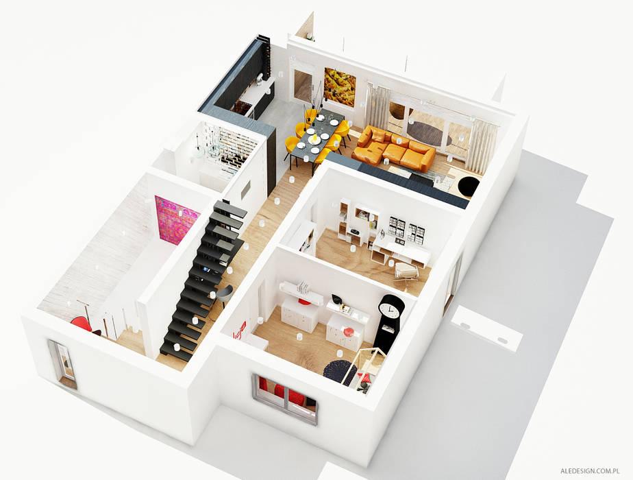 Projekt mieszkania 118m2 w Villa lux w Dąbrowie Górniczej: styl , w kategorii Domy zaprojektowany przez Ale design Grzegorz Grzywacz