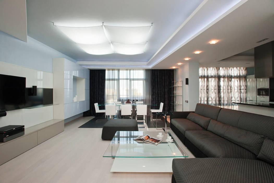 """Дизайн квартиры """"Квартира для современной семьи"""" : Гостиная в . Автор – Samarina projects"""