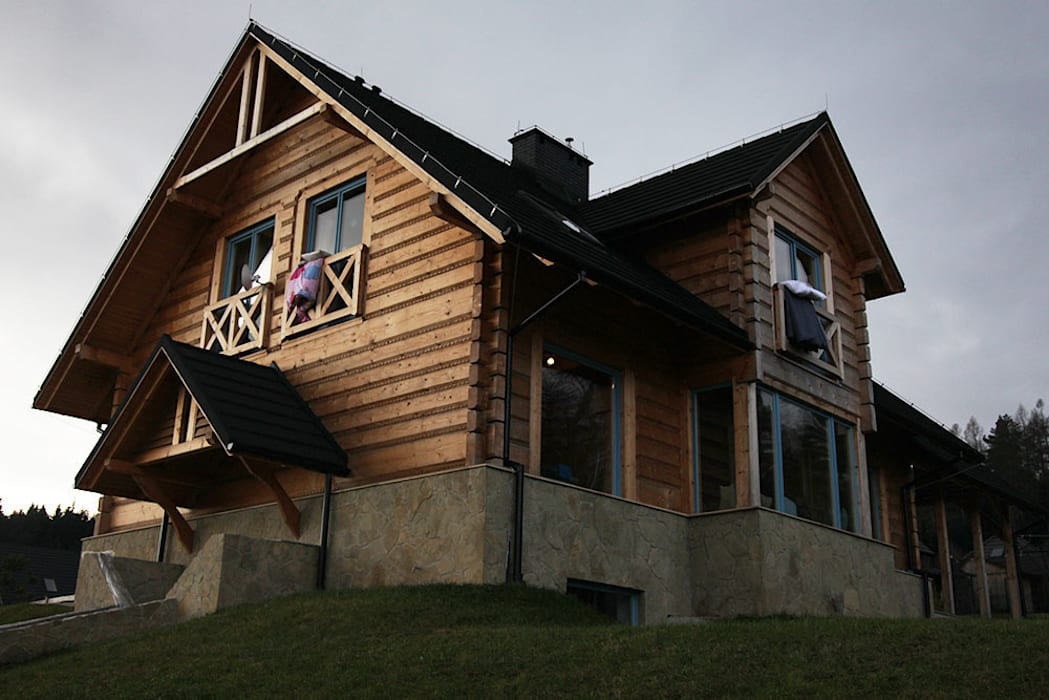 LK&909 realizacja: styl , w kategorii Dom z drewna zaprojektowany przez LK & Projekt Sp. z o.o.