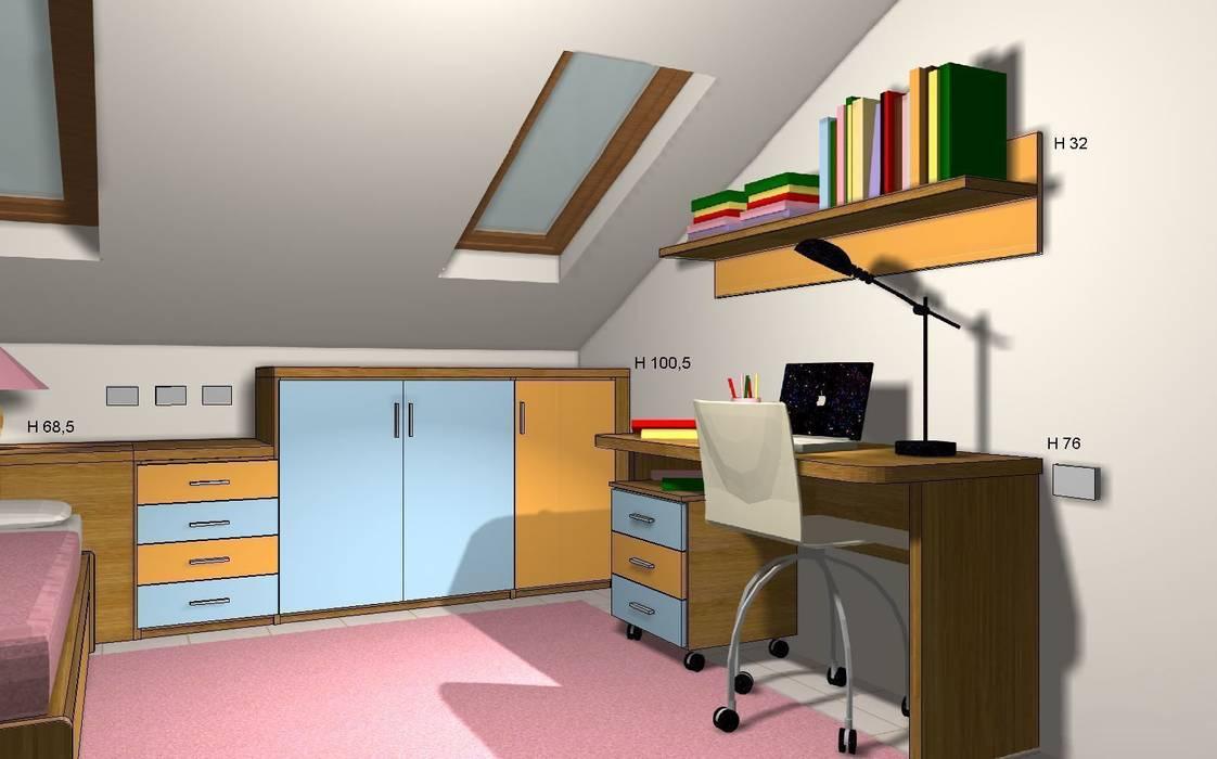 Render zona studio: Stanza dei bambini in stile in stile Moderno di JP.design