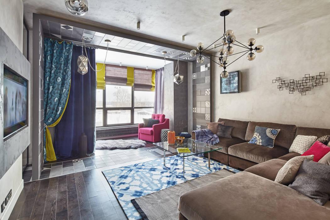 Вид из холла, гостиная.: Гостиная в . Автор – LKinterior