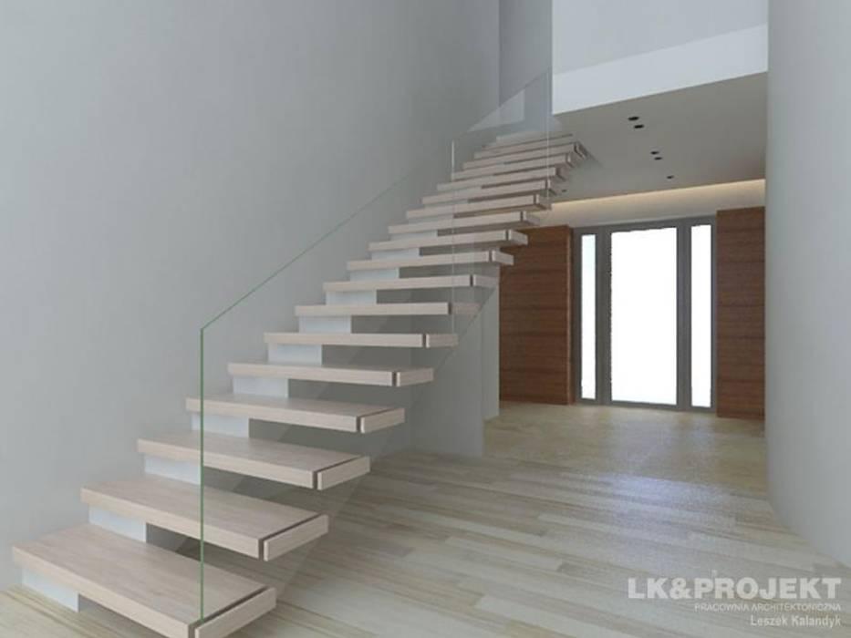 LK&803 Nowoczesny korytarz, przedpokój i schody od LK & Projekt Sp. z o.o. Nowoczesny