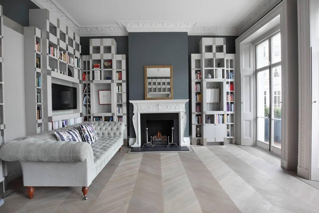 Chevron laid Ash Grey Flooring Salon classique par homify Classique