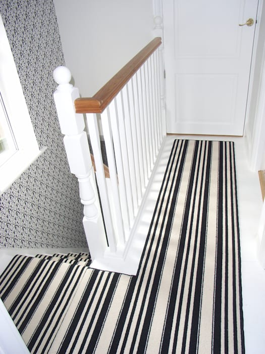Black and white striped landing carpet
