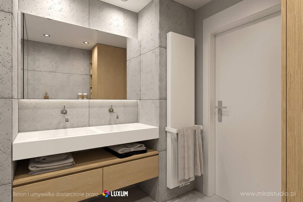 Podwójna umuwalka w minimalistycznej łazience Nowoczesna łazienka od Luxum Nowoczesny