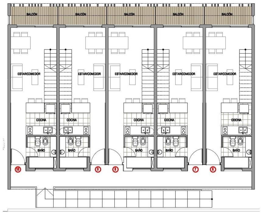PLANO: Casas de estilo  por Desarrollos Proyecta,Moderno