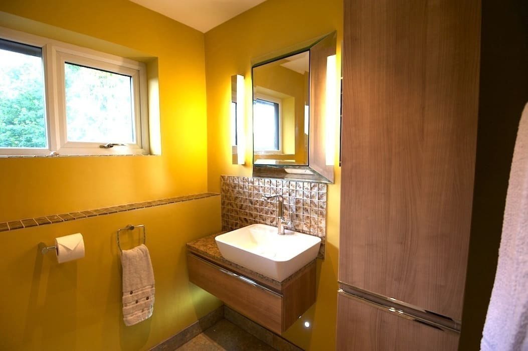 Master Bathroom Ensuite Showing Floating Vanity Storage And Concealed Led Lighting Chameleon Designs Interiors Bathroomsinks Homify