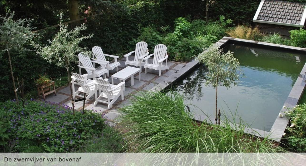 Zwemvijver met terras:  Tuin door Groene Kikker Tuinontwerp