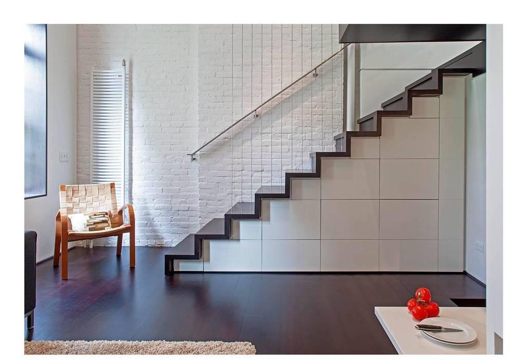 Manhattan Micro-Loft Couloir, entrée, escaliers modernes par Specht Architects Moderne
