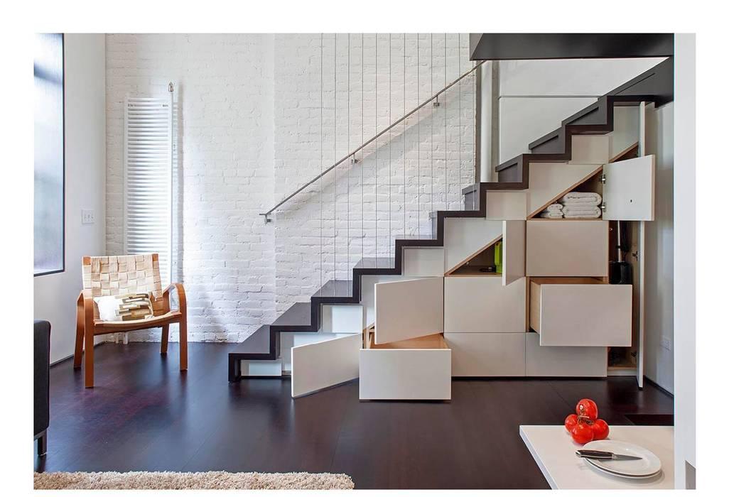 Manhattan Micro-Loft Modern corridor, hallway & stairs by Specht Architects Modern