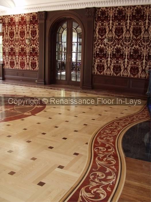 Parkiet z rozetą intarsjowaną: styl , w kategorii Salon zaprojektowany przez Renesans Floor In-lays Urszula Klotz