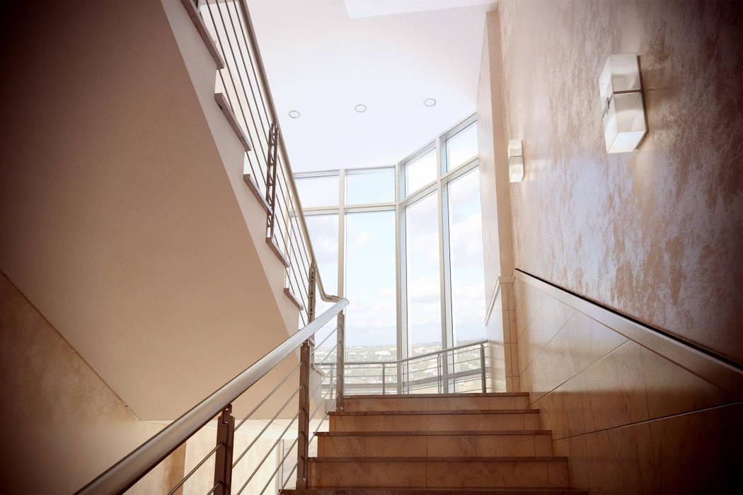 Лестничный пролет Офисные помещения в стиле минимализм от Дизайн-студия 'Эскиз' Минимализм