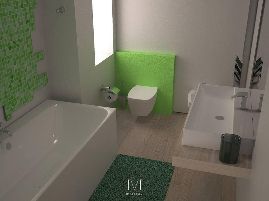Render foto realistico bagno: Bagno in stile in stile Moderno di 13seven