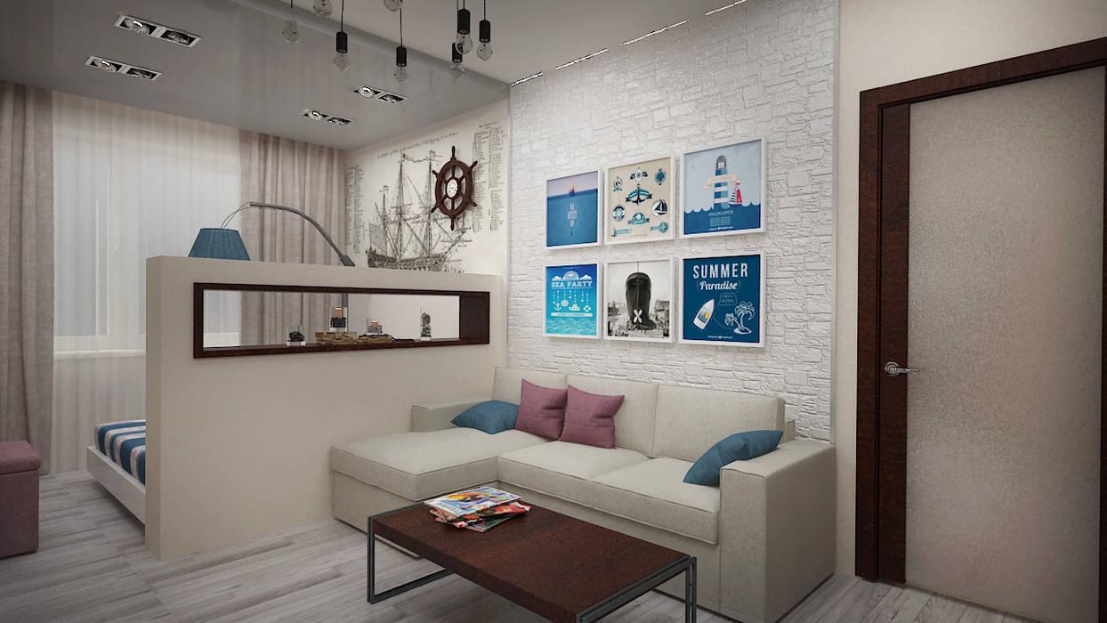 Морской поп-арт . Однокомнатная квартира.: Гостиная в . Автор – дизайн-бюро ARTTUNDRA,