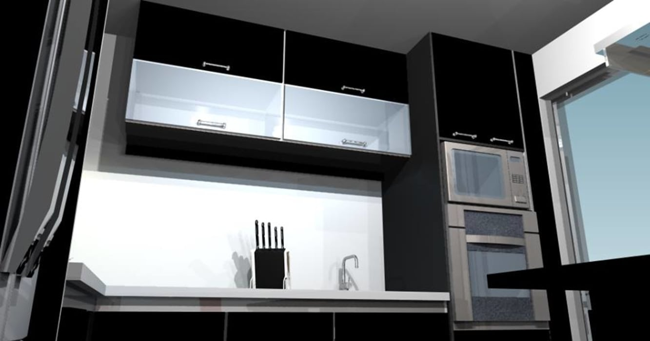 Minimalist kitchen by pb Arquitecto Minimalist Wood-Plastic Composite