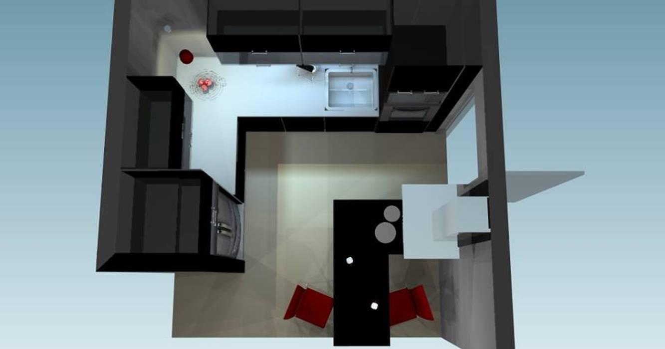 Diseño y modelado 3D cocina integrada, vivienda residencial Cocinas minimalistas de pb Arquitecto Minimalista Compuestos de madera y plástico