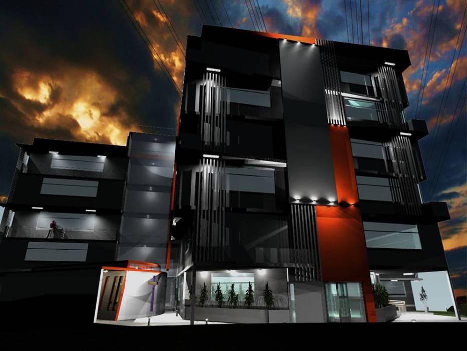 Propuesta de Diseño y modelado 3D diurno y nocturno edificio residencial.: Casas de estilo  por pb Arquitecto,