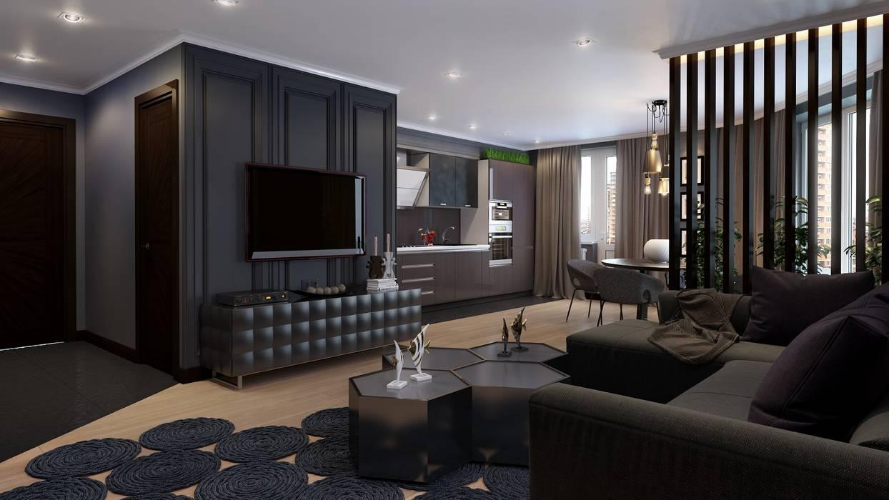 Квартира для холостяка: Гостиная в . Автор – Mushulov Project,