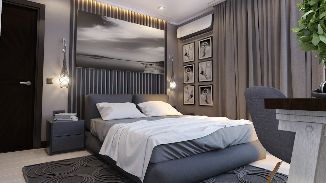 Квартира для холостяка: Спальни в . Автор – Mushulov Project, Минимализм