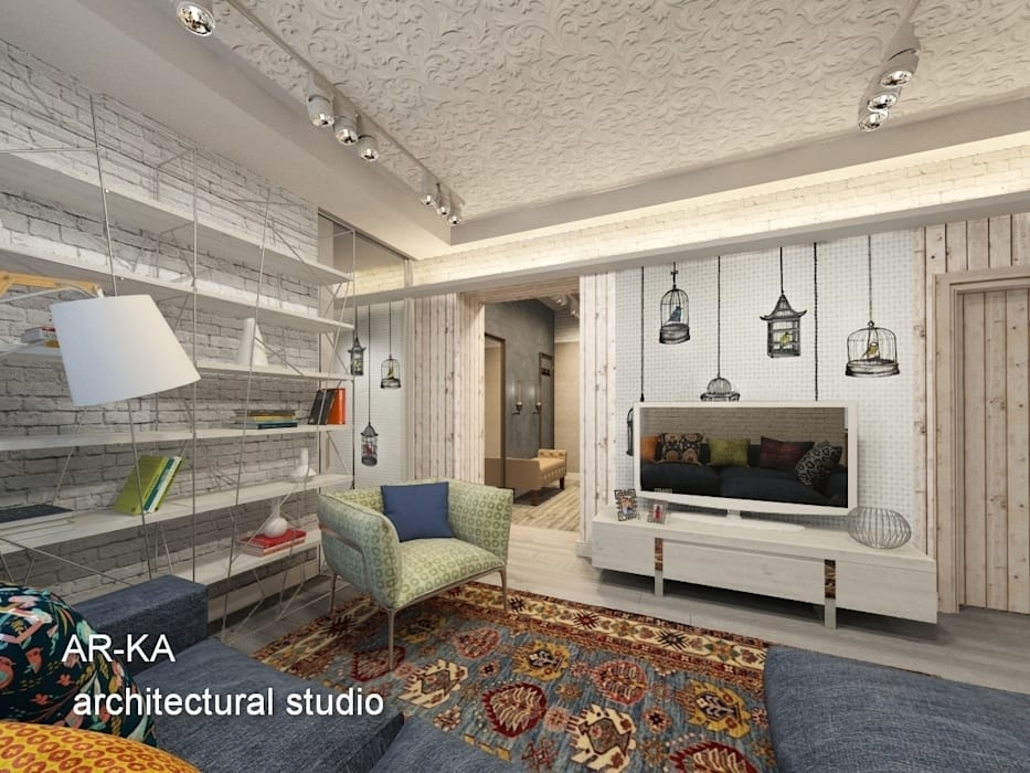 AR-KA architectural studio Industrial style living room