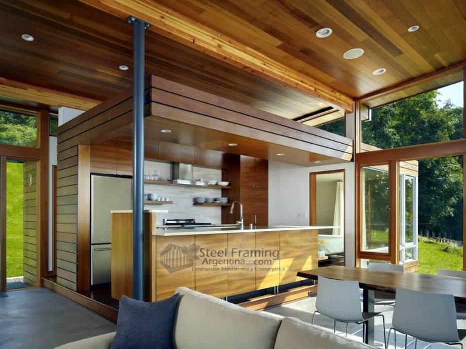 Interiores de Casas en Steel Framing: Livings de estilo  por Steel Framing Argentina,
