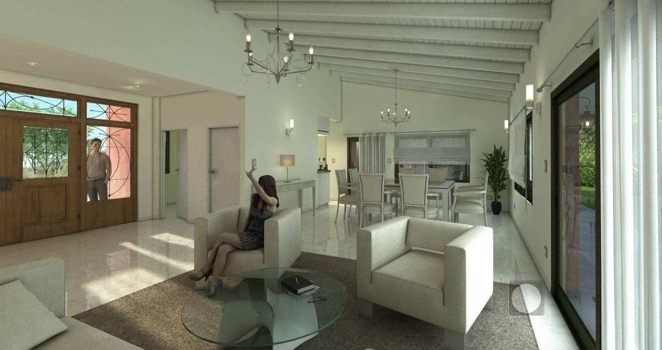 Interior living comedor vivienda  Barrio Santina: Casas de estilo  por Estudio de Arquitectura y Diseño Feng Shui