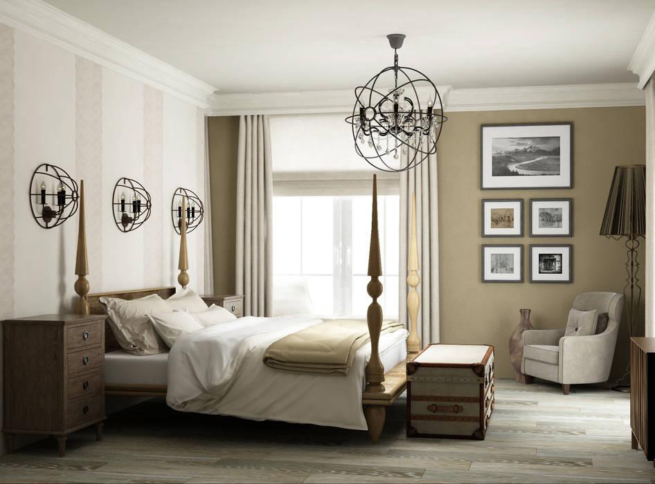 спальня в частном доме: Спальни в . Автор – Eclectic DesignStudio, Кантри