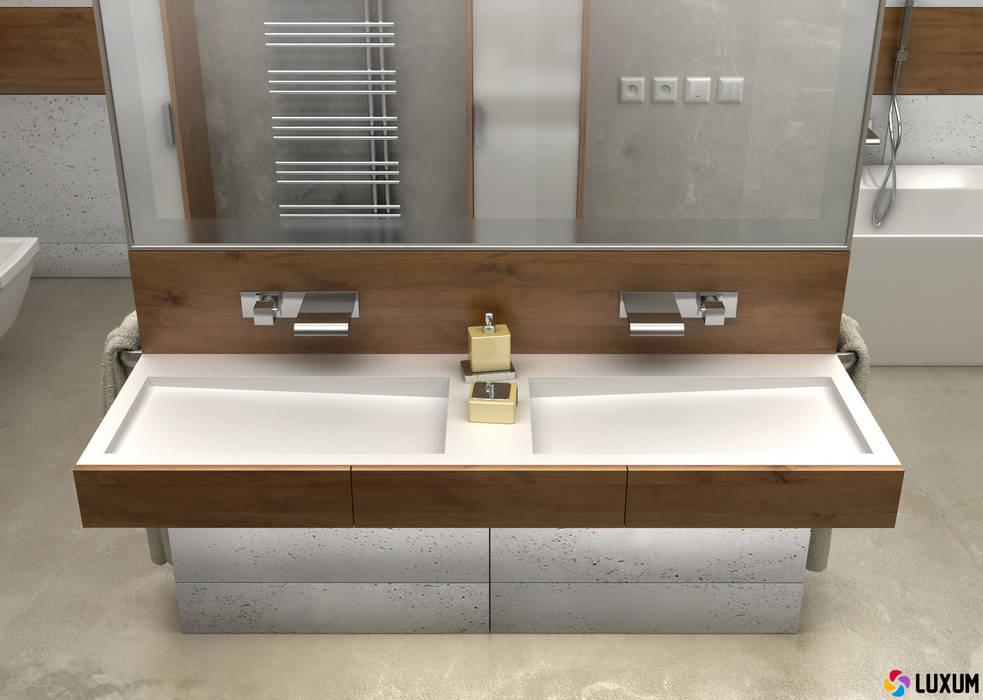 Podwójna umywalka: styl , w kategorii Łazienka zaprojektowany przez Luxum