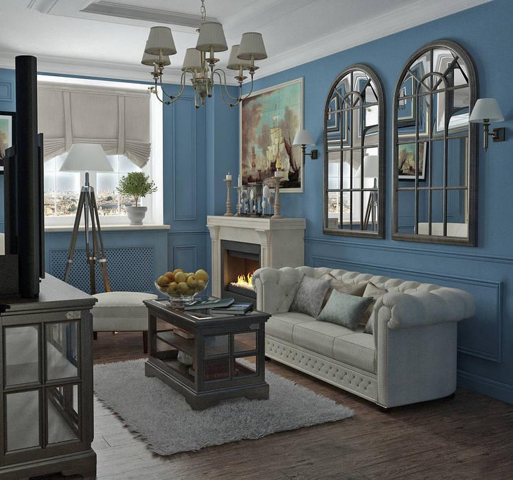 Гостиная в английском стиле: Гостиная в . Автор – Yurov Interiors