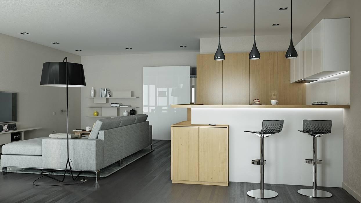 Минимализм для холостяка Кухня в стиле минимализм от Kristina Petraitis Design House Минимализм