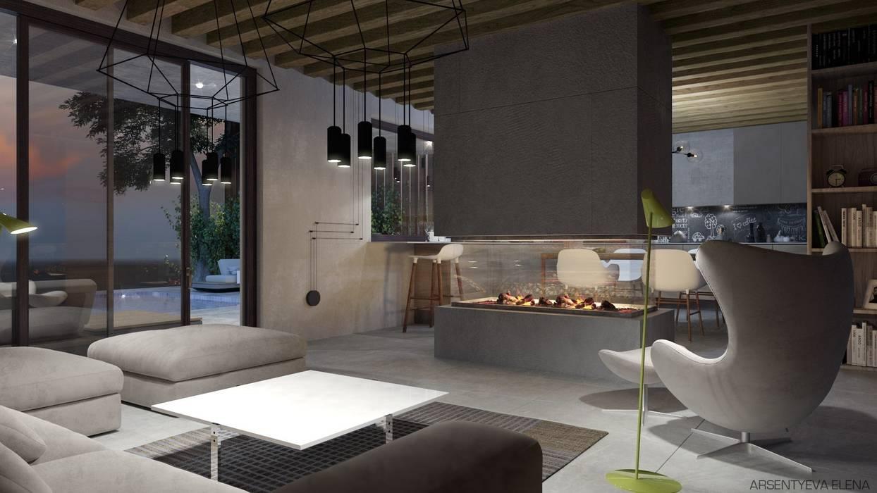 Elena Arsentyeva Scandinavian style living room