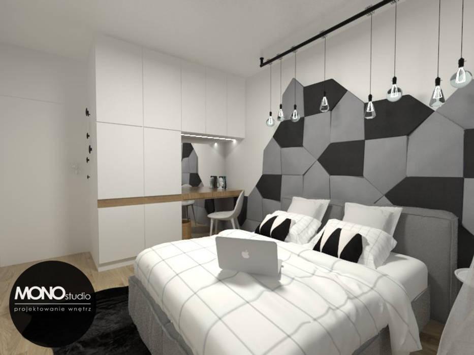 Nowoczesna sypialnia z akcentem Nowoczesna sypialnia od MONOstudio Nowoczesny