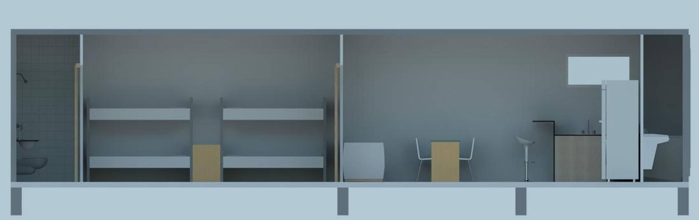 CASA MODULAR EFICIENTE - BOX 40' – móduloII Casas industriais por SustentARQ Studio Industrial
